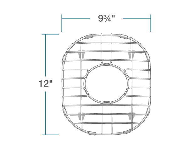 "The dimensions of G-501-S Sink Grid is 9 3/4"" x 12"" x 1""."