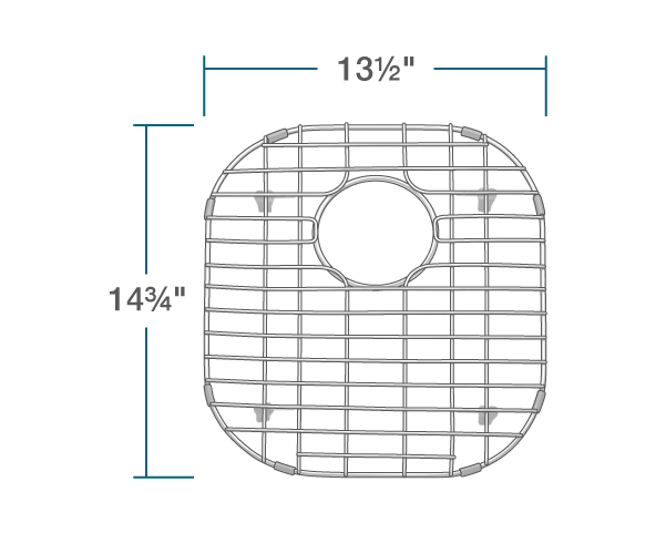 "The dimensions of G-502-O Sink Grid is 13 1/2"" x 14 3/4"" x 1""."