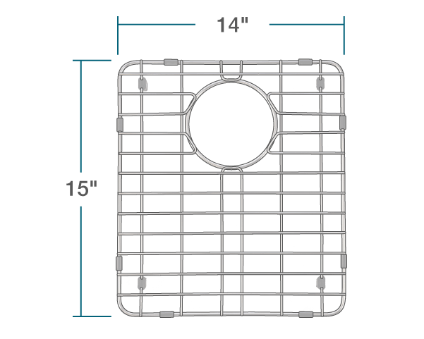 "The dimensions of G-801-S Small Sink Grid is 14"" x 15"" x 1""."