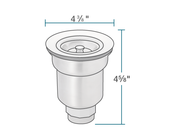 """The dimensions of ST-B Basket Strainer is 4 5/8"""" x 4 3/8"""" x 0""""."""