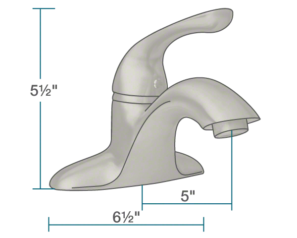 "The dimensions of 701-BN Single Handle Bathroom Faucet is 6 1/2"" x 5"" x 5 1/2""."
