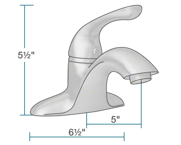 "The dimensions of 701-C Chrome Single Handle Bathroom Faucet is 6 1/2"" x 5"" x 5 1/2""."