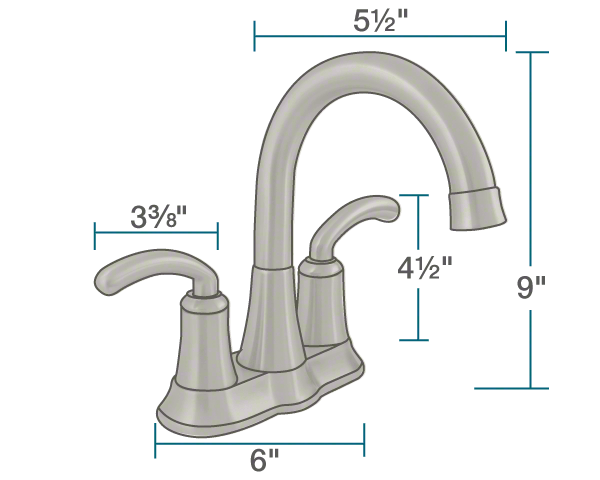 "The dimensions of 7042-BN Brushed Nickel Two Handle Lavatory Faucet is 6"" x 5 1/2"" x 9""."