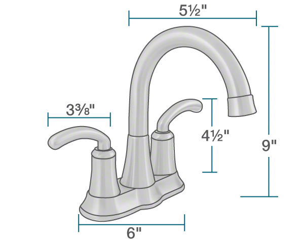 "The dimensions of 7042-C Chrome Two Handle Lavatory Faucet is 6"" x 5 1/2"" x 9""."