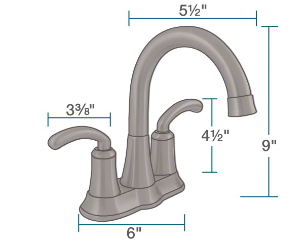 "The dimensions of 7042-ORB Oil Rubbed Bronze Two Handle Lavatory Faucet is 6"" x 5 1/2"" x 9""."