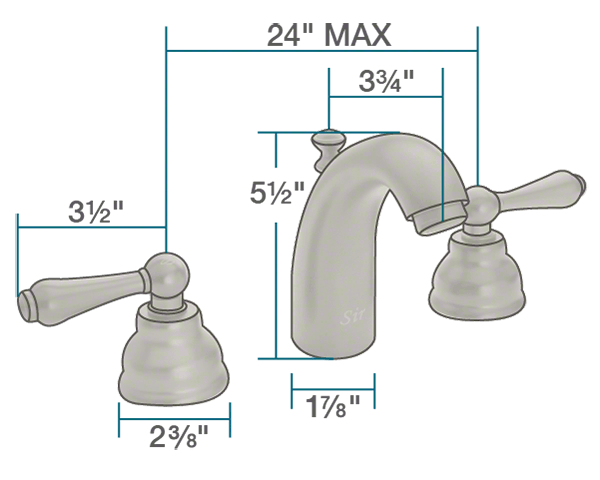 "The dimensions of 706-BN Brushed Nickel Wide Spread Lavatory Faucet is 1 7/8"" x 3 3/4"" x 5 1/2""."