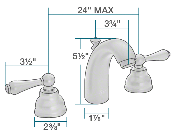 "The dimensions of 706-C Chrome Wide Spread Lavatory Faucet is 1 7/8"" x 3 3/4"" x 5 1/2""."