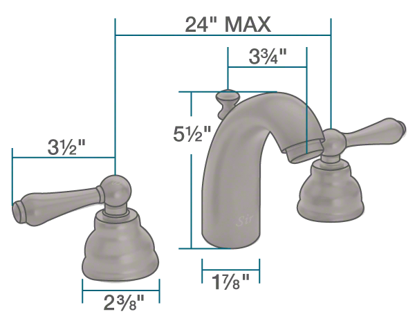 "The dimensions of 706-ORB Oil Rubbed Bronze Wide Spread Lavatory Faucet is 1 7/8"" x 3 3/4"" x 5 1/2""."