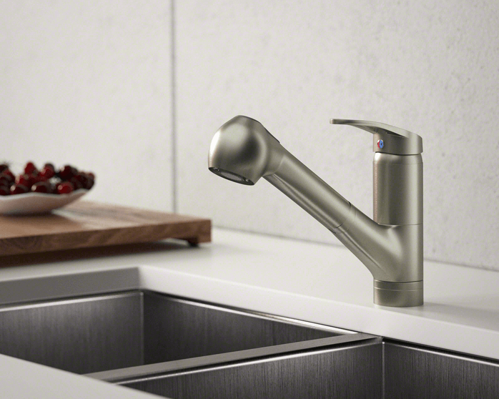 708 bn brushed nickel single handle pull out kitchen faucet