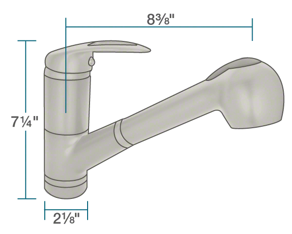"The dimensions of 708-BN Brushed Nickel  Pull Out Faucet is 2 1/8"" x 8 3/8"" x 7 1/4""."
