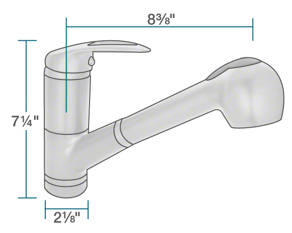 "The dimensions of 708-C Chrome Pull Out Faucet is 2 1/8"" x 8 3/8"" x 7 1/4""."