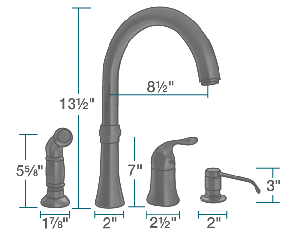 710-ABR Antique Bronze 4 Hole Kitchen Faucet