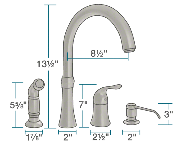 "The dimensions of 710-BN Brushed Nickel 4 Hole Kitchen Faucet is 2"" x 8 1/2"" x 13 1/2""."