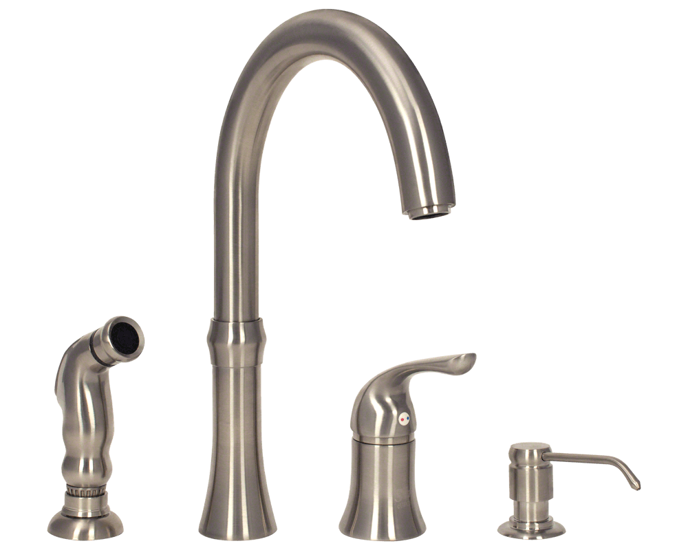 710-BN Brushed Nickel 4 Hole Kitchen Faucet - 710-BN Kitchen Faucet