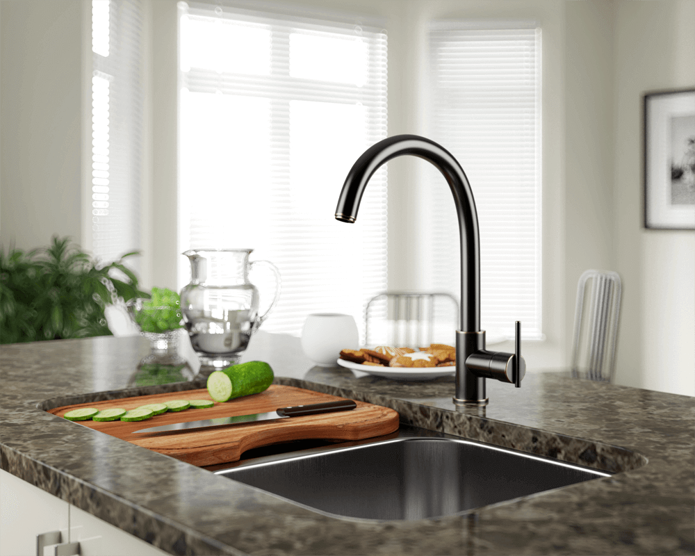 711-ABR Lifestyle Image: Antique Bronze Solid Brass /Three Holes Single Handle Kitchen Faucet