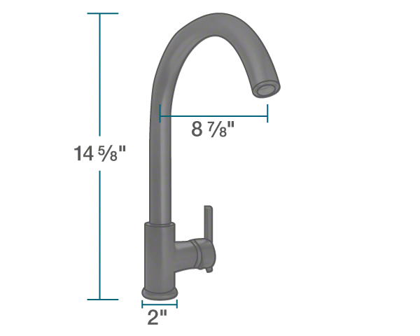 "The dimensions of 711-ABR Antique Bronze Single Handle Kitchen Faucet is 2"" x 8 7/8"" x 14 5/8""."