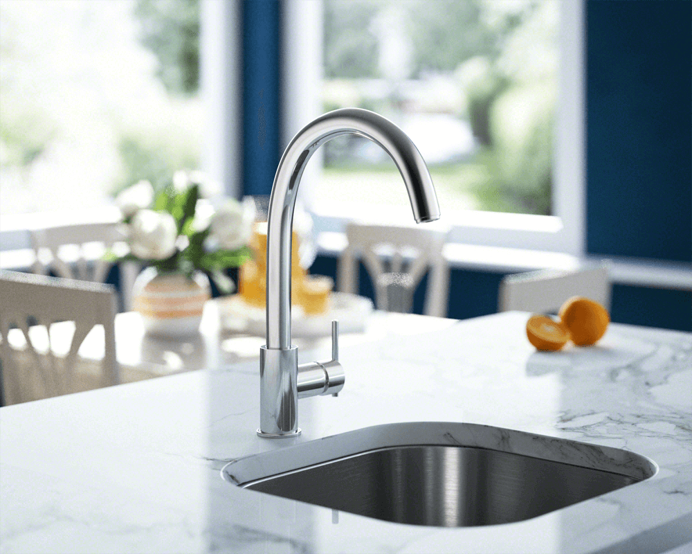 711-C Lifestyle Image: Chrome Solid Brass /Three Holes Single Handle Kitchen Faucet