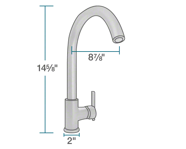 "The dimensions of 711-C Chrome Single Handle Kitchen Faucet is 2"" x 8 7/8"" x 14 5/8""."