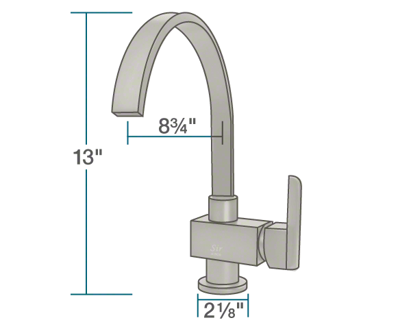 "The dimensions of 712-BN Brushed Nickel Single Handle Kitchen Faucet is 2 1/8"" x 8 3/4"" x 13""."
