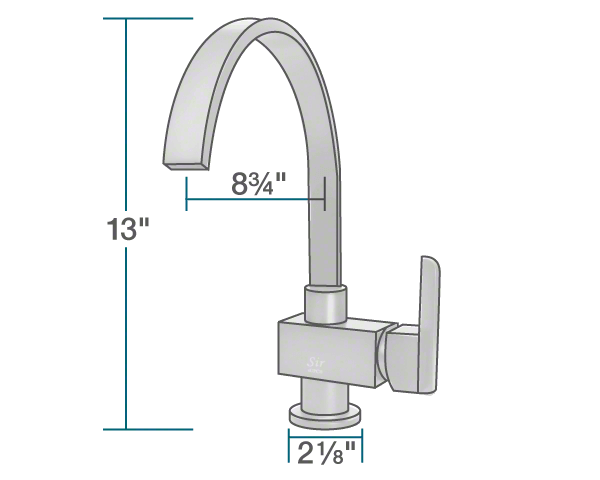 "The dimensions of 712-C Chrome Single Handle Kitchen Faucet is 2 1/8"" x 8 3/4"" x 13""."