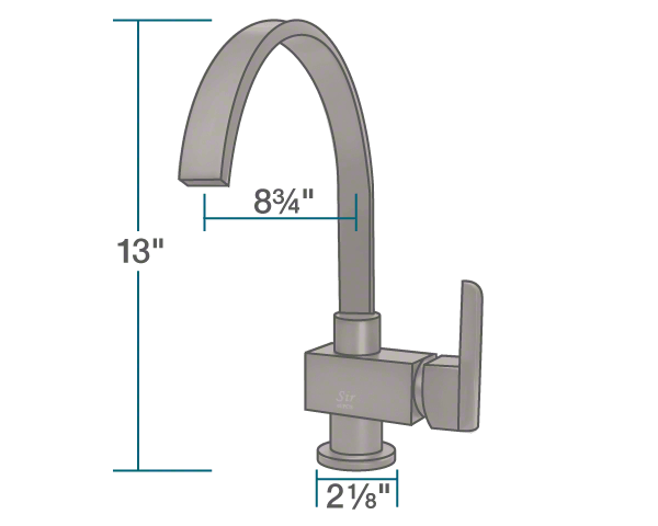 "The dimensions of 712-ORB Oil Rubbed Bronze Single Handle Kitchen Faucet is 2 1/8"" x 8 3/4"" x 13""."