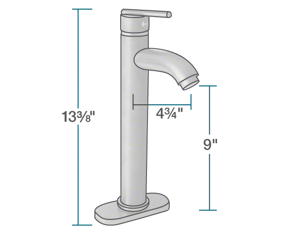 "The dimensions of 718-C Chrome Vessel Faucet is 2"" x 4 3/4"" x 13 3/8""."