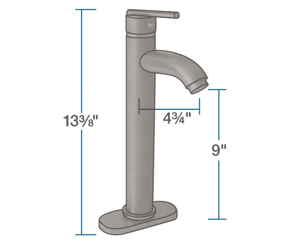 "The dimensions of 718-ORB Oil Rubbed Bronze Vessel Faucet is 2"" x 4 3/4"" x 13 3/8""."