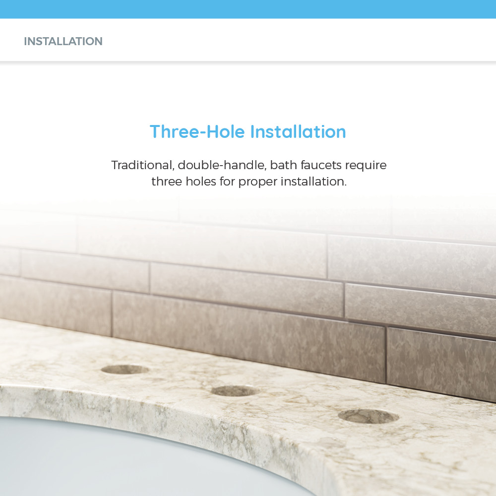 Three holes for bath faucet installation