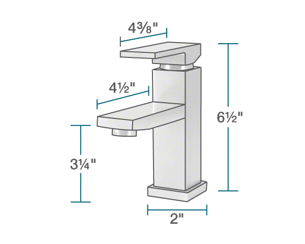 "The dimensions of 720-C Vessel Faucet is 2"" x 4 1/2"" x 6 1/2""."