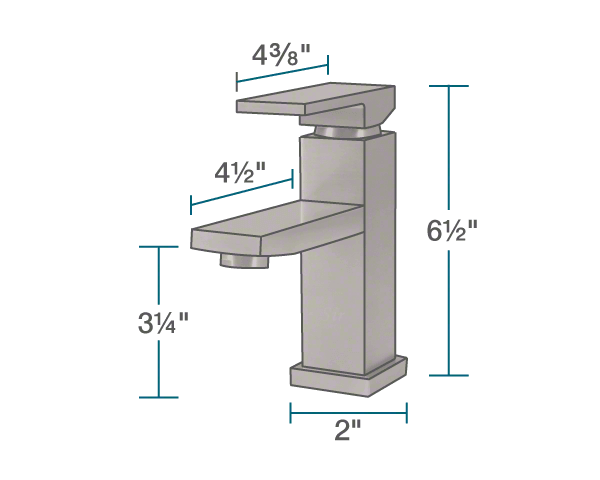 "The dimensions of 720-ORB Vessel Faucet is 2"" x 4 1/2"" x 6 1/2""."