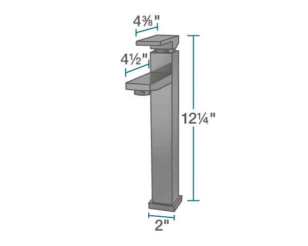 "The dimensions of 721-ABR Vessel Faucet is 2"" x 4 1/2"" x 12 1/4""."