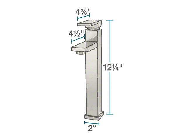 "The dimensions of 721-BN Vessel Faucet is 2"" x 4 1/2"" x 12 1/4""."