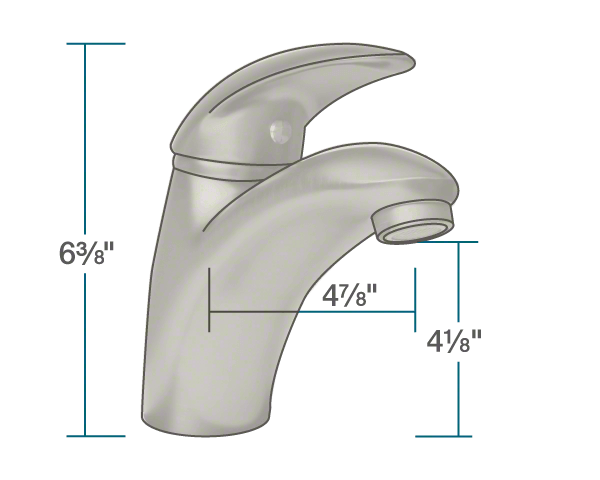 "The dimensions of 722-BN Brushed Nickel Single Handle Bathroom Faucet is 2 3/8"" x 4 7/8"" x 6 3/8""."