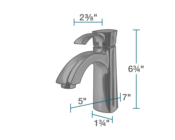 "The dimensions of 725-ABR Vessel Faucet is 1 3/4"" x 5"" x 6 3/4""."