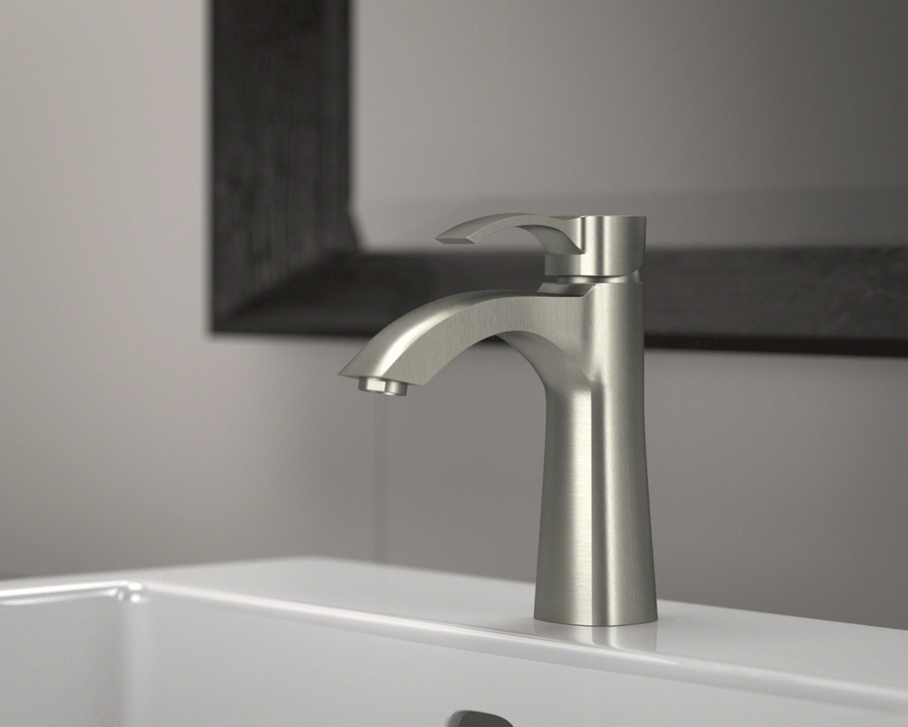 725-BN Lifestyle Image: Brushed Nickel Solid Brass One Hole Single Handle Bathroom Faucet