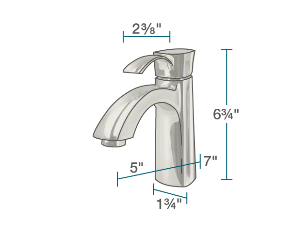 "The dimensions of 725-BN Vessel Faucet is 1 3/4"" x 5"" x 6 3/4""."