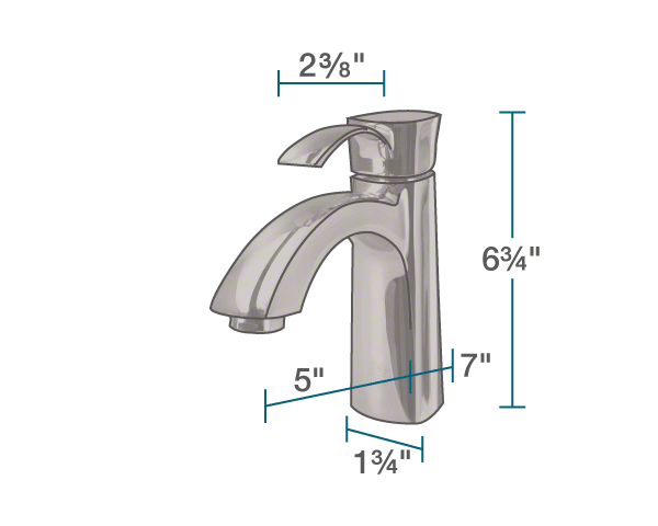 "The dimensions of 725-ORB Vessel Faucet is 1 3/4"" x 5"" x 6 3/4""."