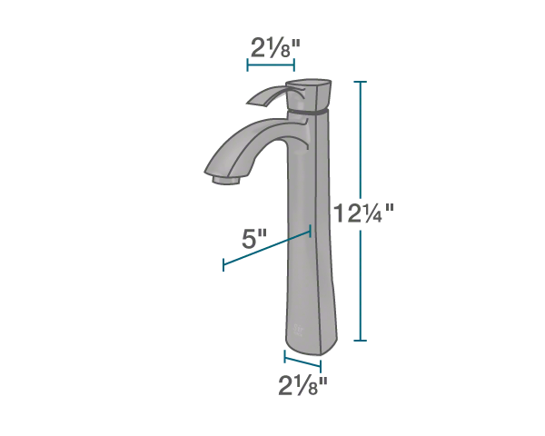 "The dimensions of 726-ABR Vessel Faucet is 2 1/8"" x 5"" x 12 1/4""."