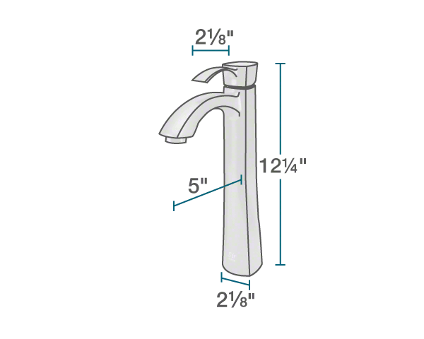 "The dimensions of 726-C Vessel Faucet is 2 1/8"" x 5"" x 12 1/4""."