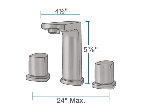 "The dimensions of 728-ABR Widespread Faucet is 2"" x 4 1/2"" x 5 7/8""."