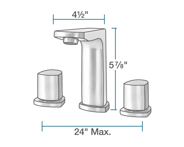 "The dimensions of 728-C Widespread Faucet is 2"" x 4 1/2"" x 5 7/8""."