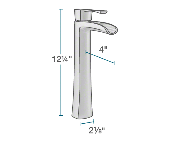 "The dimensions of 731-C Vessel Faucet is 2 1/8"" x 4"" x 12 1/4""."