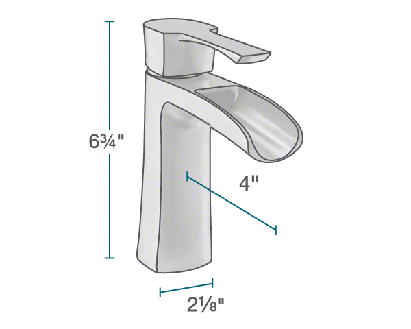 "The dimensions of 732-C Vessel Faucet is 2 1/8"" x 4"" x 6 3/4""."