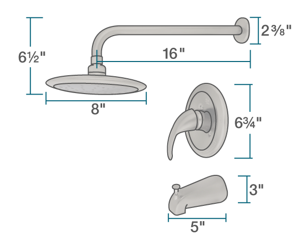 "The dimensions of 750-BN Brushed Nickel 3 Piece Rain Head Shower Set is 8"" x 14 1/4"" x 2 3/8""."