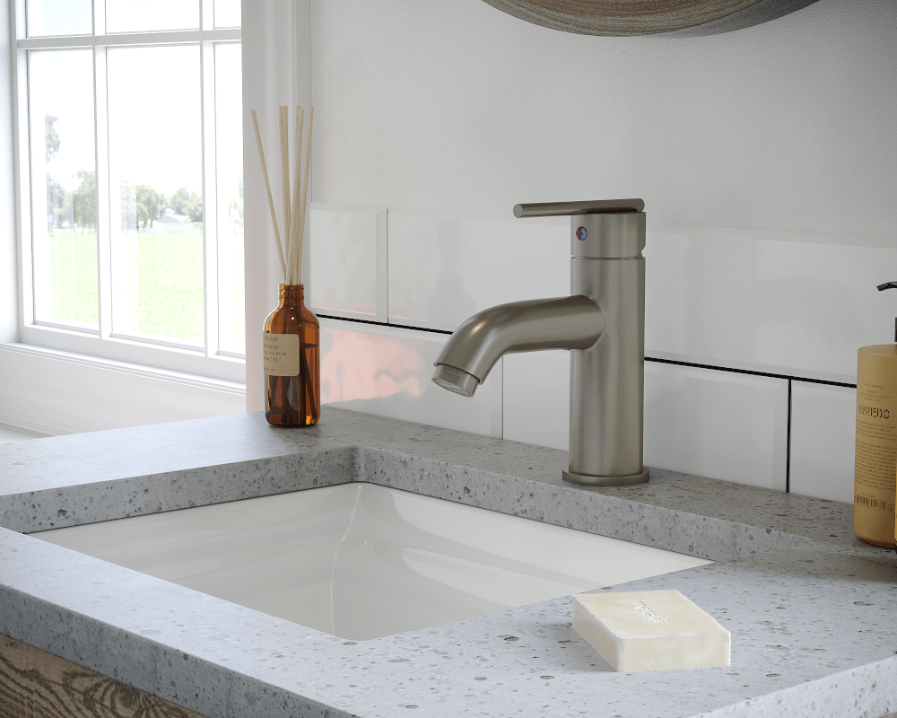753-BN Lifestyle Image: Brushed Nickel Solid Brass One Hole Single Handle Bathroom Faucet