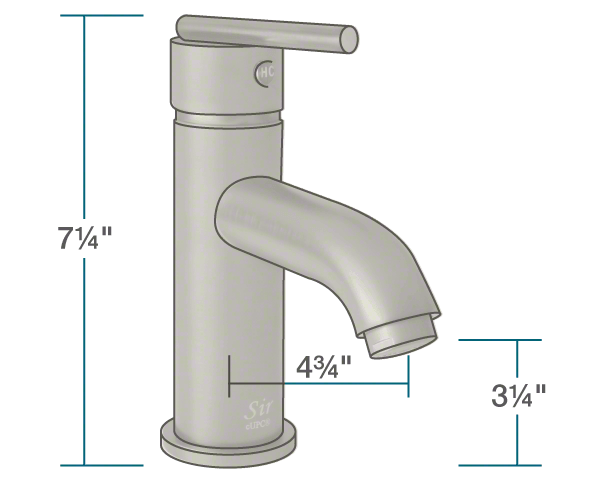 "The dimensions of 753-BN Brushed Nickel Vessel Faucet is 2"" x 4 3/4"" x 7 1/4""."