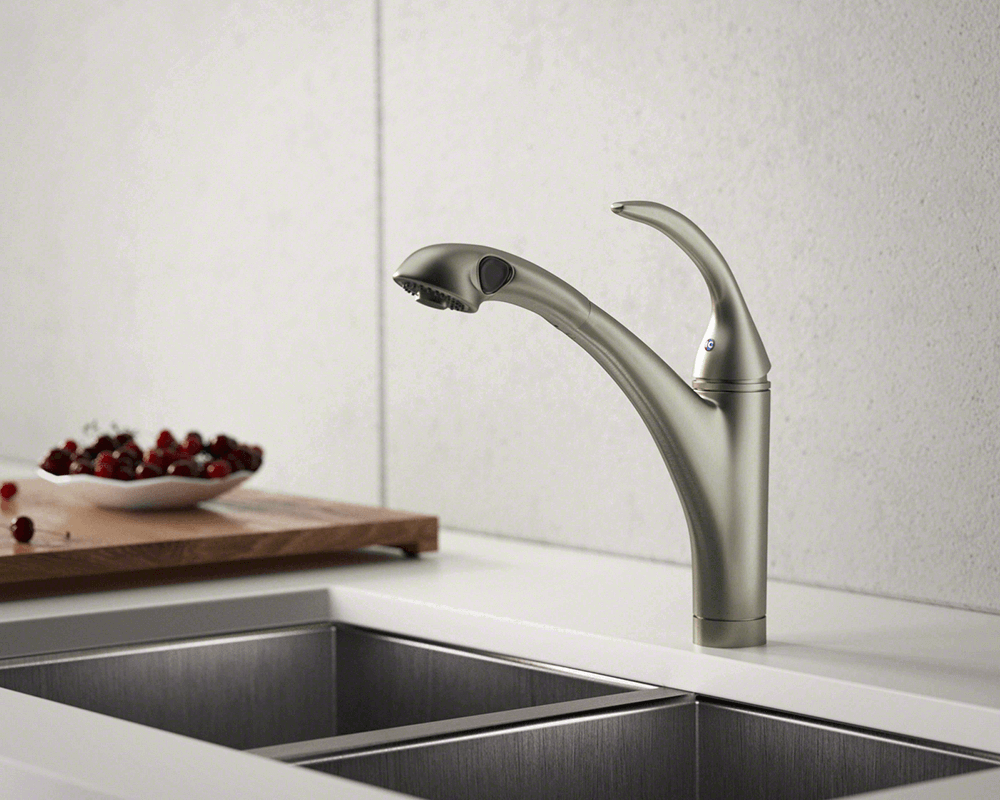 765-BN Lifestyle Image: Brushed Nickel Solid Brass /Three Holes Single Handle Kitchen Faucet