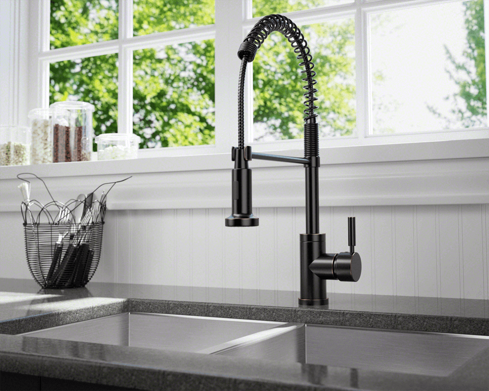 766-ABR Lifestyle Image: Antique Bronze /Three Holes Single Handle Solid Brass Kitchen Faucet