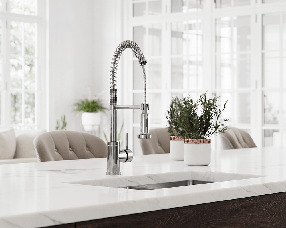 766-C Lifestyle Image: Chrome Solid Brass /Three Holes Single Handle Kitchen Faucet