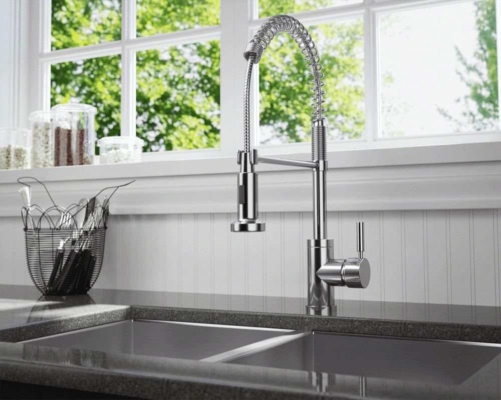766-C Lifestyle Image: Chrome Solid Brass Single Handle /Three Holes Kitchen Faucet